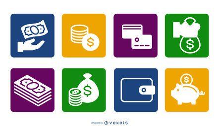 Quadrados coloridos planos de ícone de dinheiro