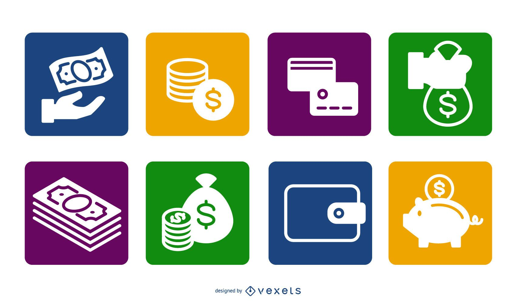 Money Icon Flat Colorful Squares
