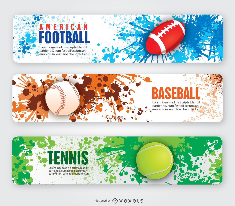 Banners de fútbol americano tenis y béisbol