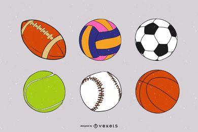 9 bolas de esporte de vetor