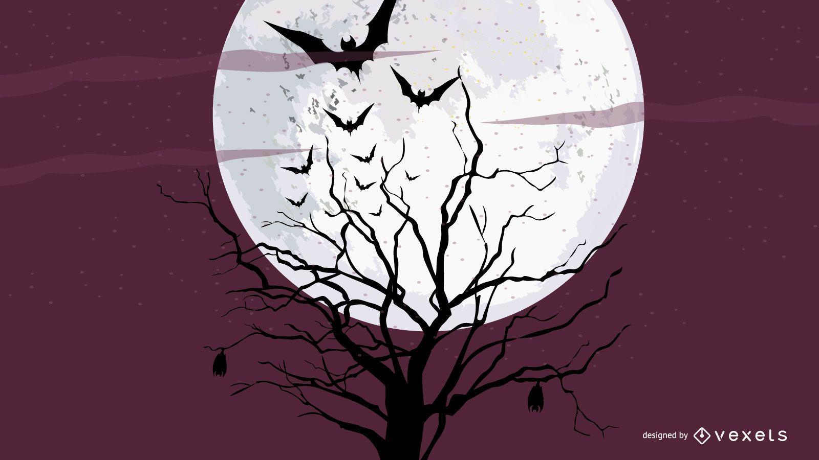 Luna Árbol Noche Silueta