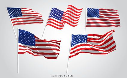 5 United States waving flags