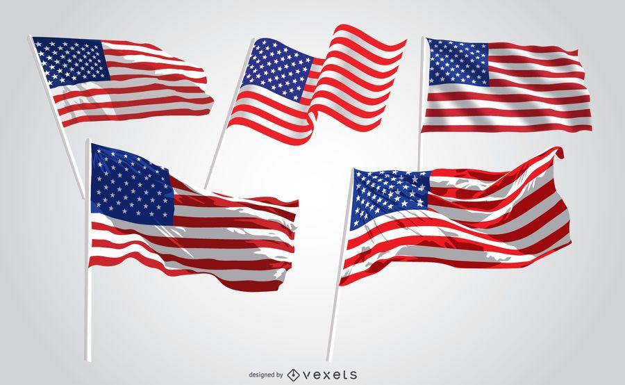 5 banderas de Estados Unidos ondeando