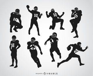 Jogadores de futebol americano silhuetas