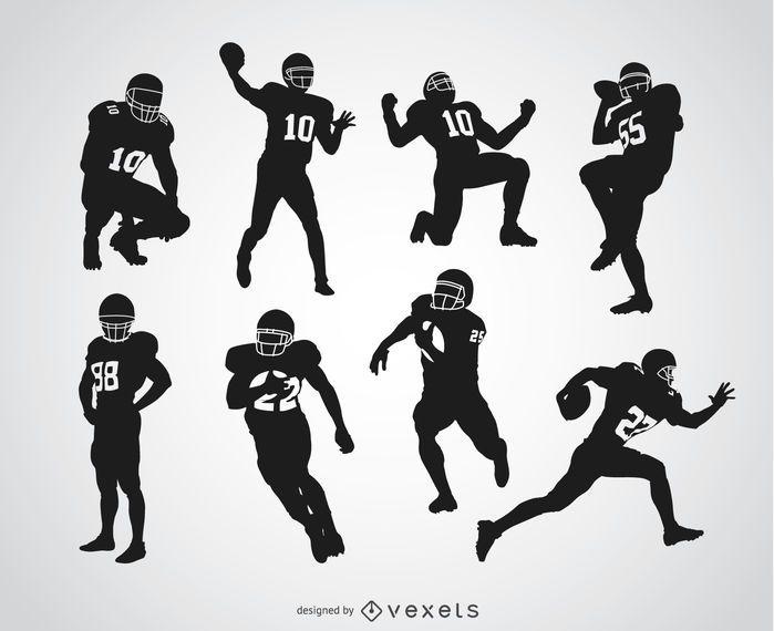 Silhuetas de jogadores de futebol americano