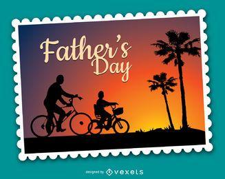 Día del padre en bicicleta al atardecer