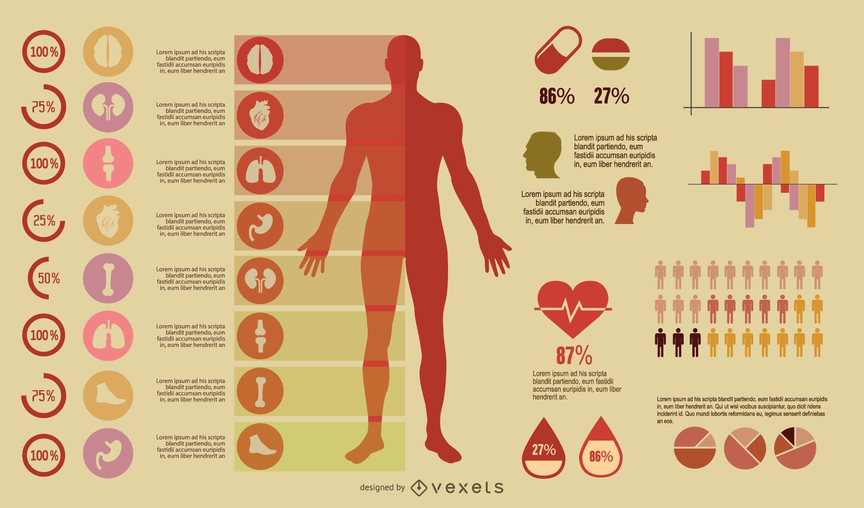 Infografía médica colorida vintage