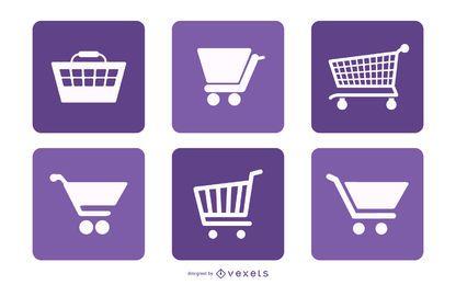 Paquete de cuadrados de iconos de carrito de compras