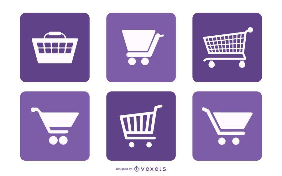 Pack de quadrados de ícone de carrinho de compras