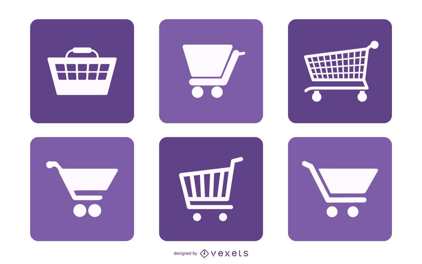 Pacote de quadrados do ícone do carrinho de compras