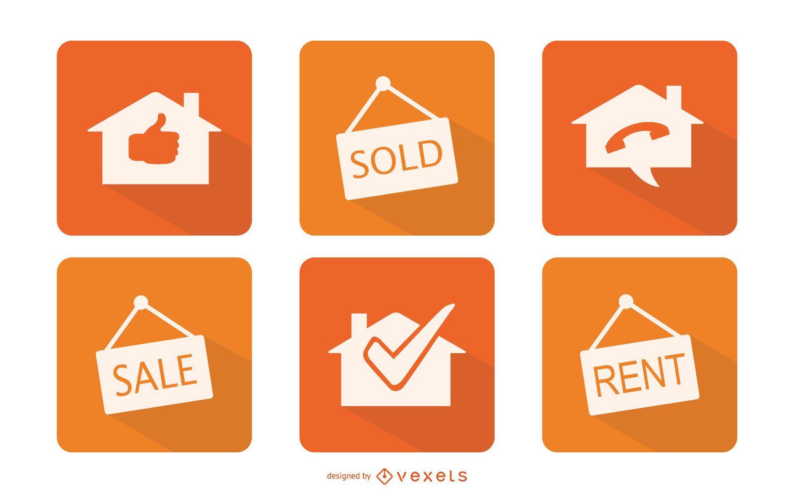 Conjunto de iconos de bienes raíces mínimos