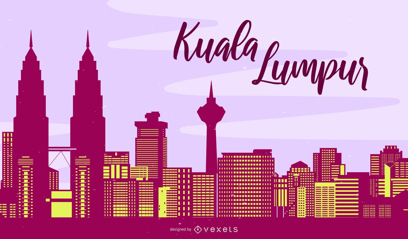 Silueta del horizonte de Kuala Lumpur
