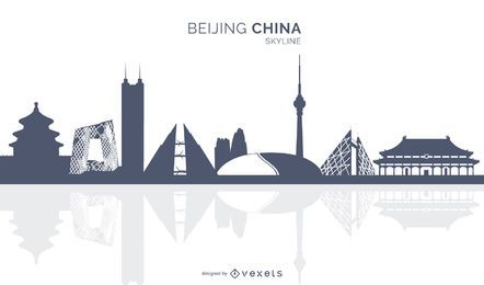 Beijing China Skyline Silhouette