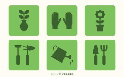 Conjunto de ícones de jardinagem plana