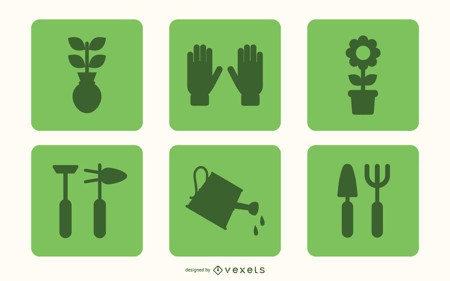 Flache Gartenarbeit-Icon-Set