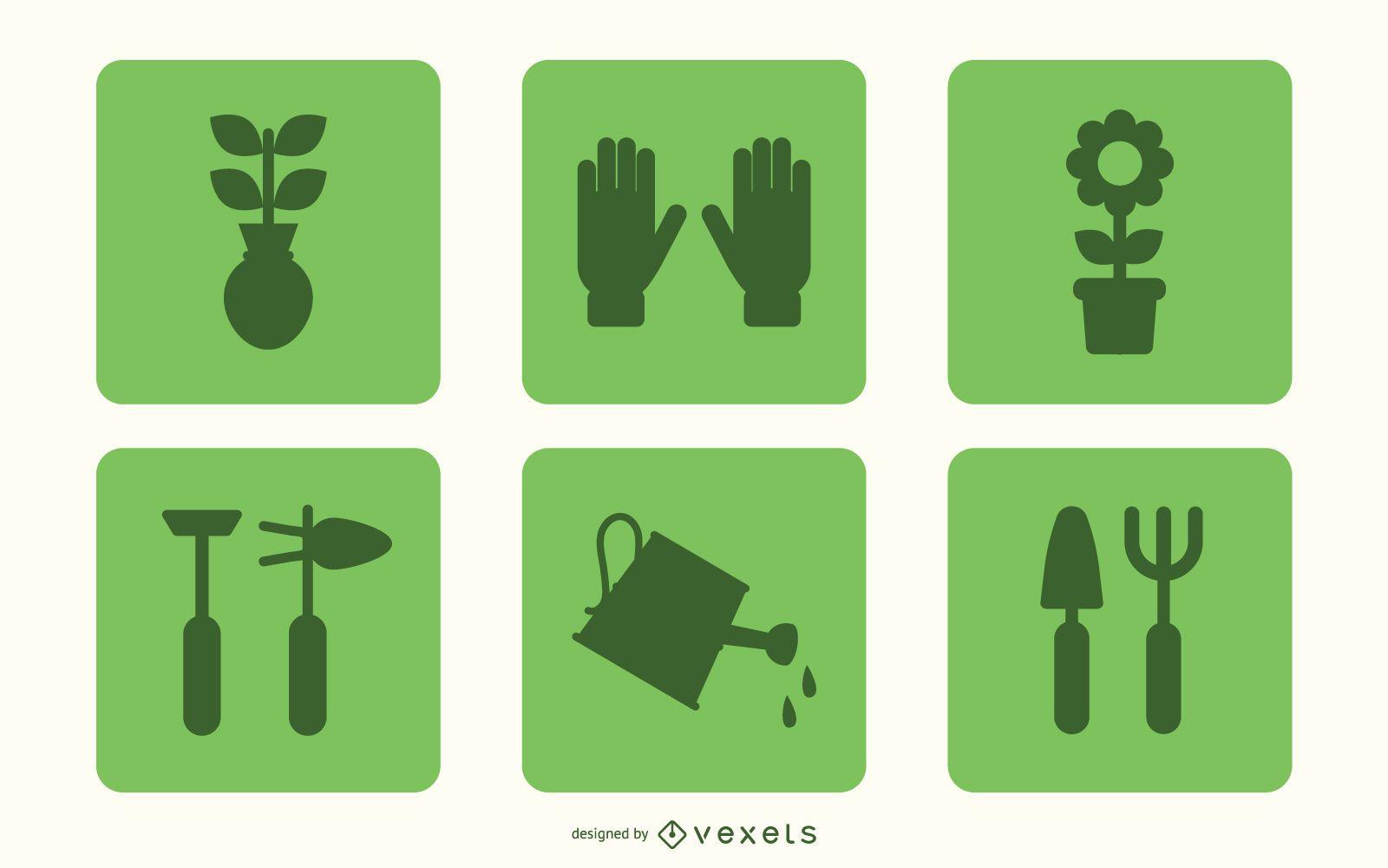 Conjunto de iconos de jardinería plana