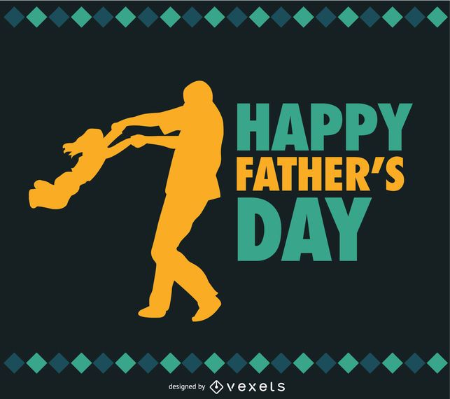 Father and Daughter Father's day vector