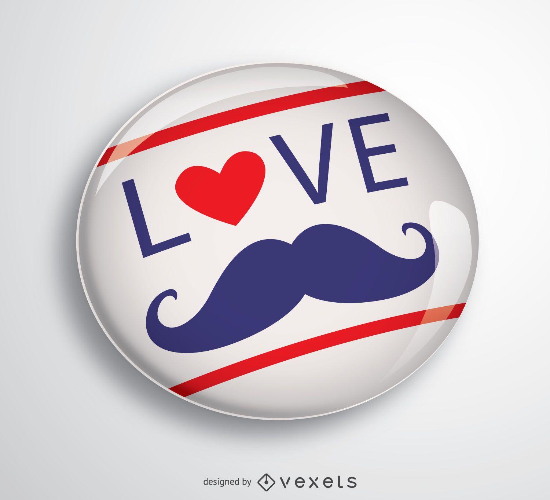 Love Father Moustache pin
