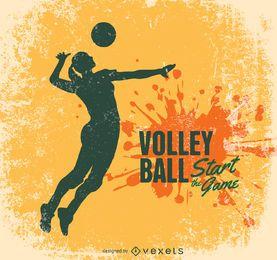 Diseño del voleibol del grunge