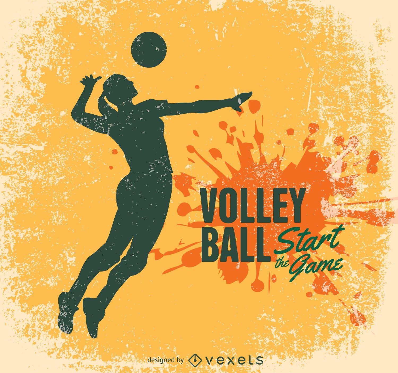 Diseño grunge de voleibol