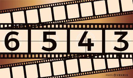 Retro beeinflusster Filmspulen-Countdown