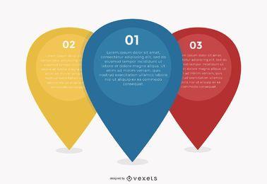 3 marcadores de posición de pin multicolor