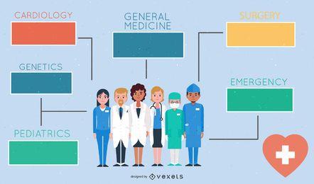 Retro flache Gesundheitswesen Infographik