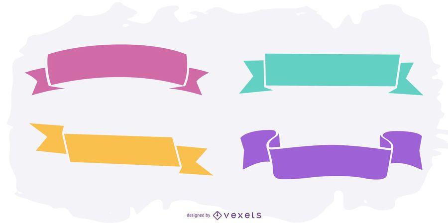 Conjunto de cinta etiquetada volteada colorido