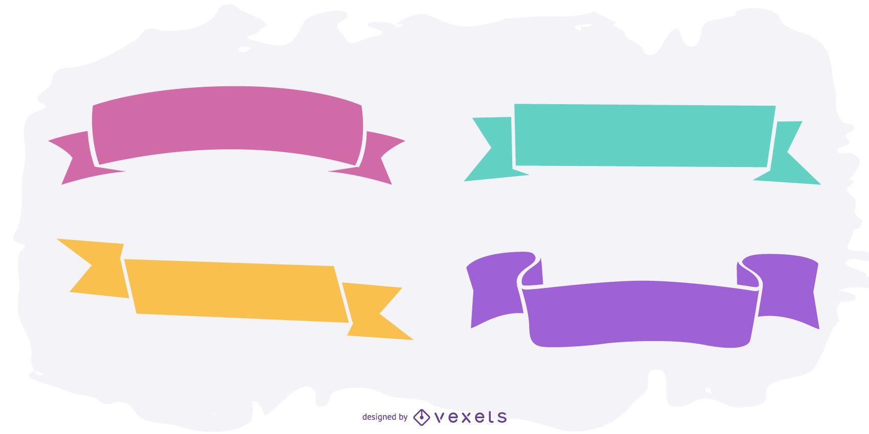 Conjunto de fitas coloridas viradas e etiquetadas