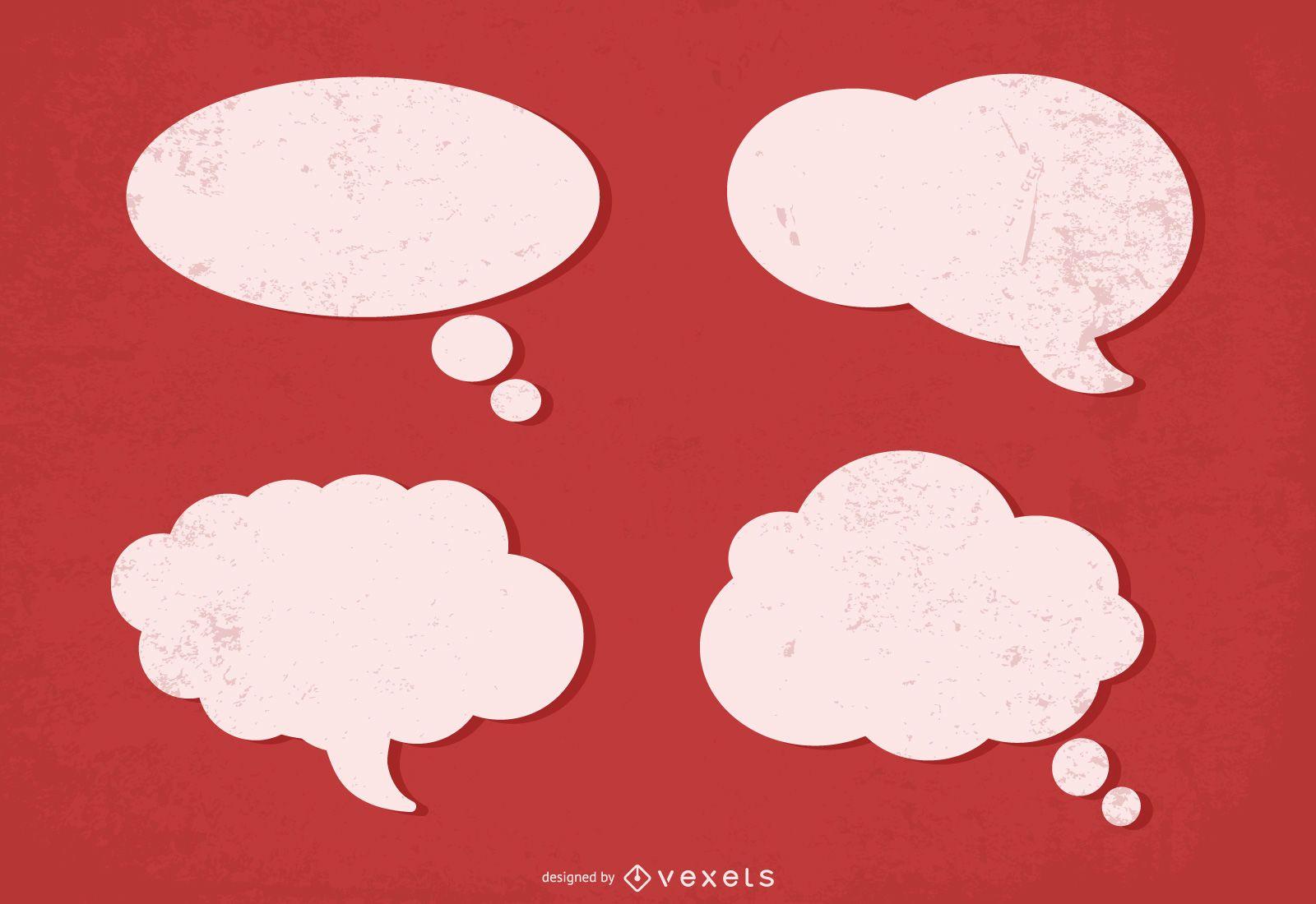 Conjunto de burbujas de discurso grunge nublado
