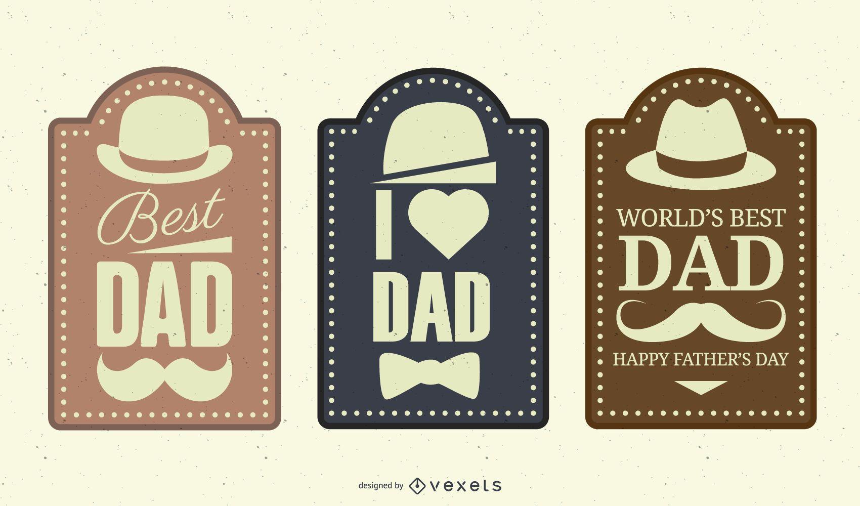 Conjunto de etiquetas vintage del día del padre
