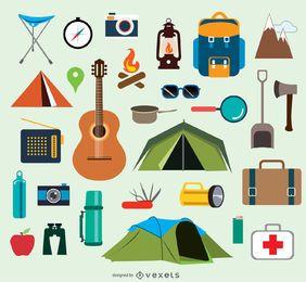 Iconos y elementos de camping.