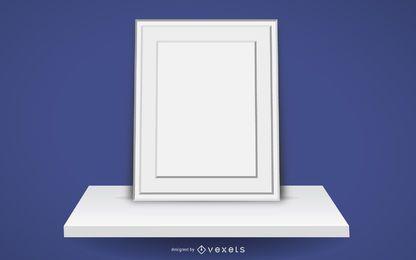 Quadro em branco na prateleira 3D