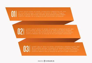 Infográfico de origami criativo de três dobras