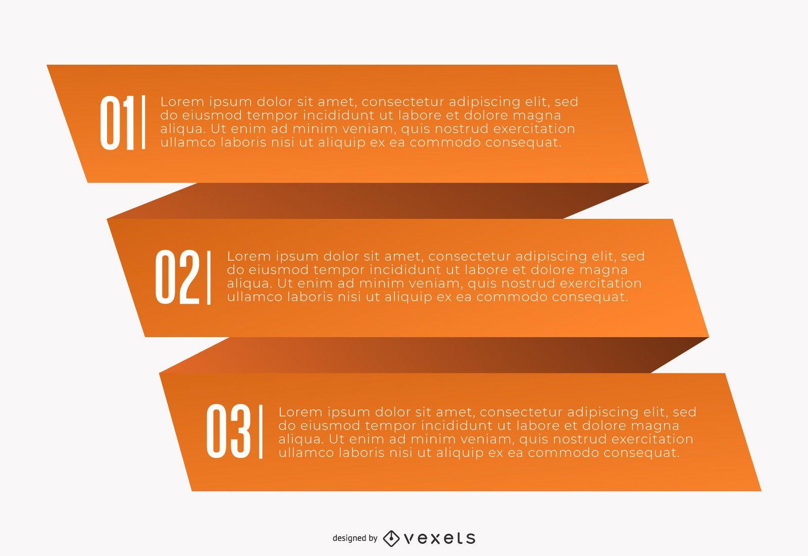 Infografía de origami creativo de tres pliegues