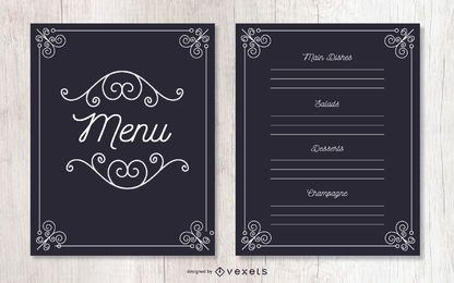 Menu decorativo de evento ornamentado