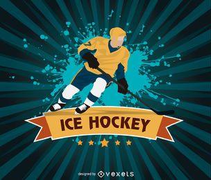 Design de grunge de hóquei no gelo
