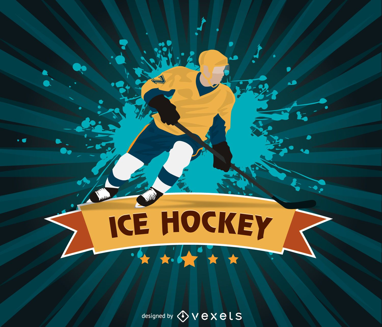 ice hockey grunge design