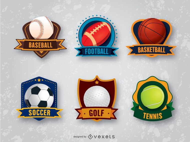 6 sports badges emblems