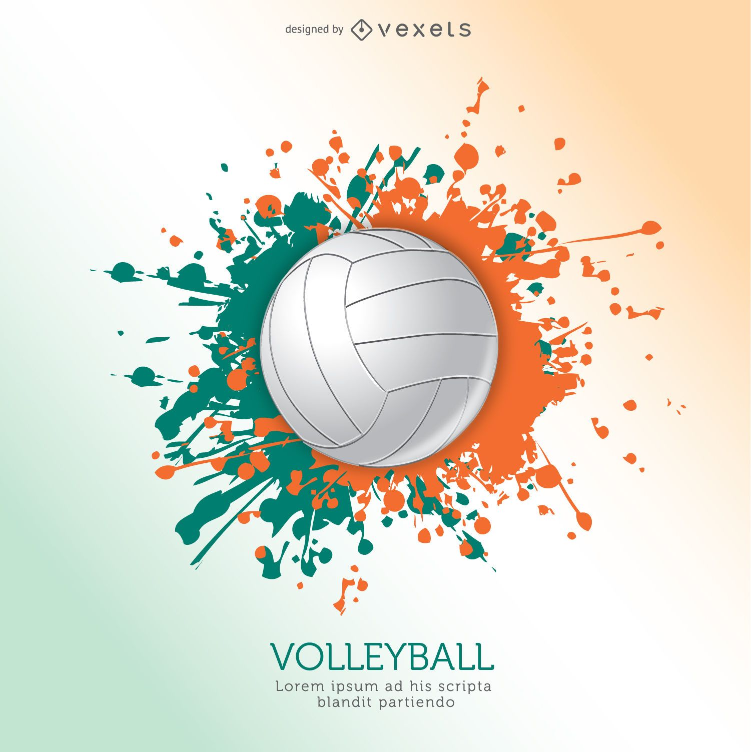 Volleyball ball grunge design