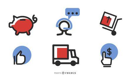 Ícones do vetor de comércio eletrônico