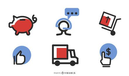 Iconos vectoriales de comercio electrónico