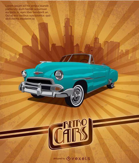 Poster retro do carro