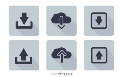 Flat Download Upload Icon Set