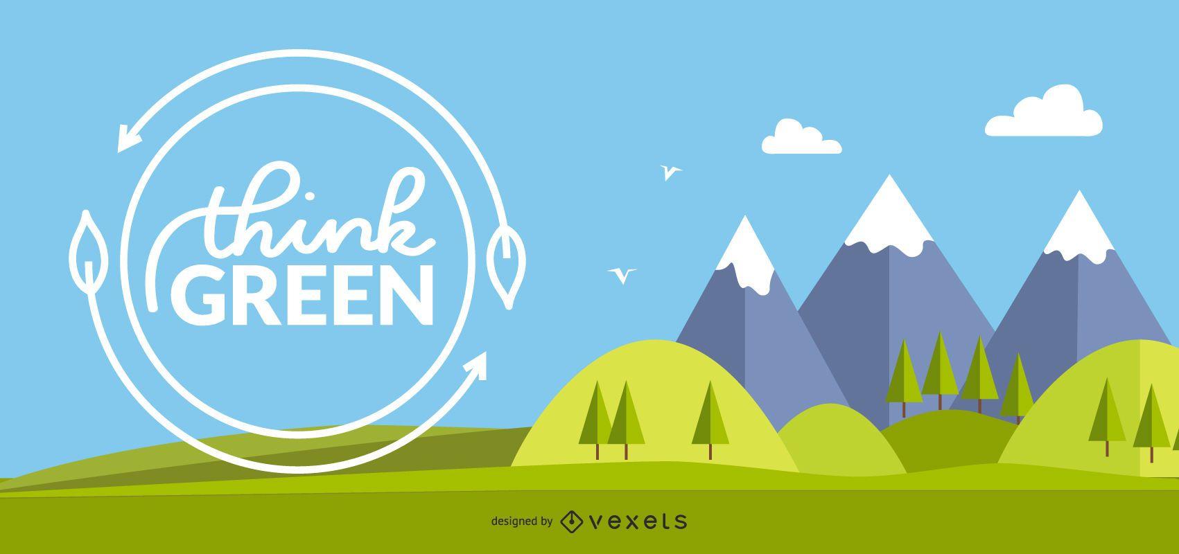 Piense en el diseño de fondo verde