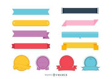 Conjunto colorido de cinta y insignia