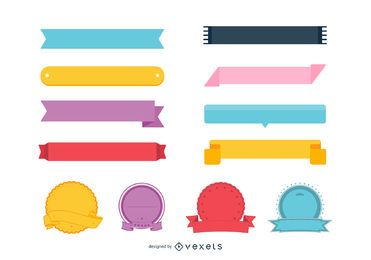 Conjunto de cinta e insignia de colores