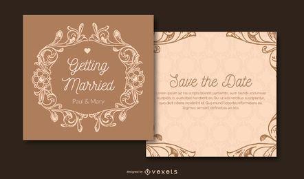 Convite do casamento do Flouring do vintage