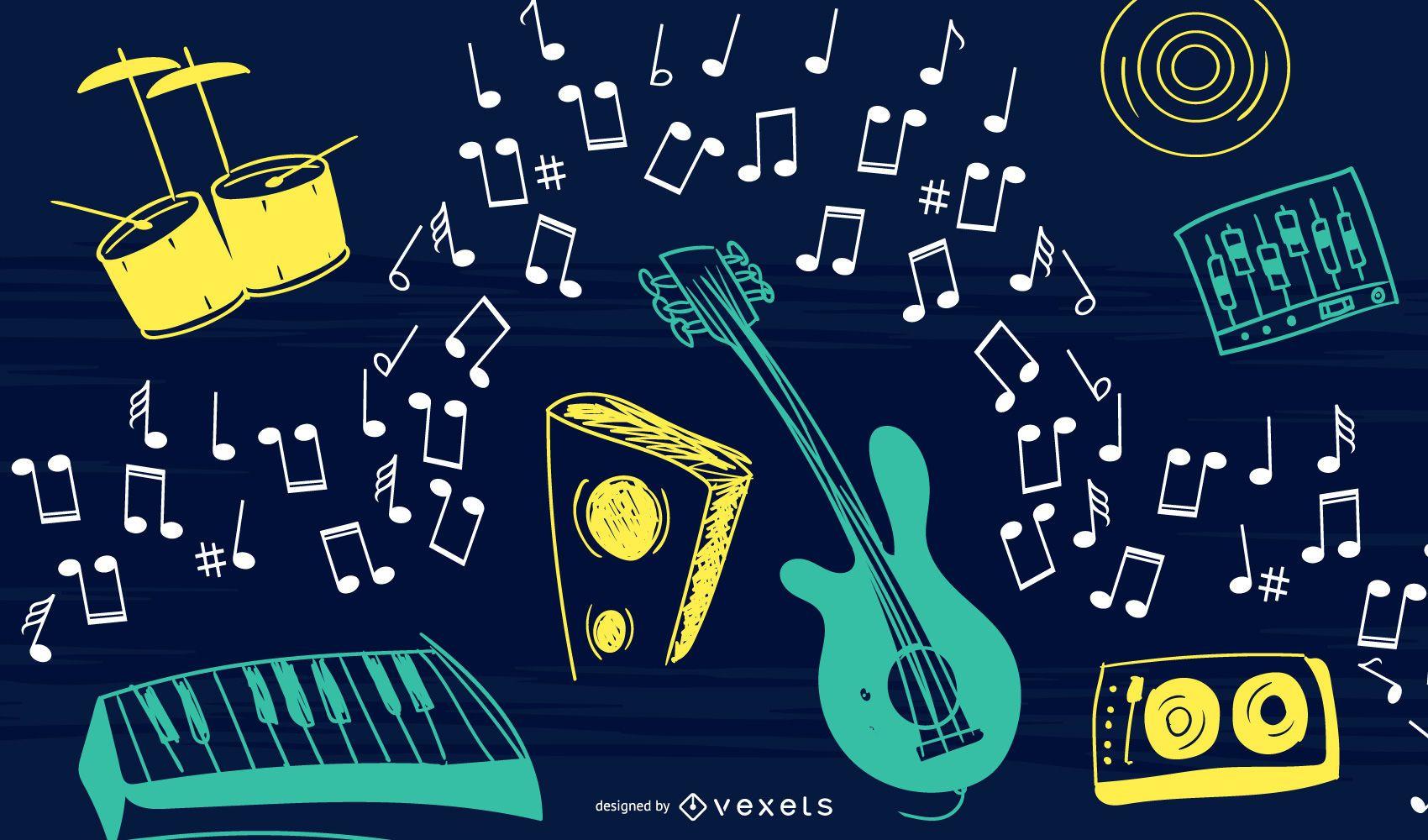 Diseño de fondo de garabatos de música