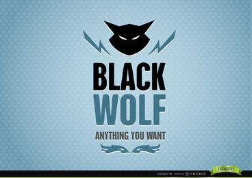 Black Wolf Abstract Animal Logo